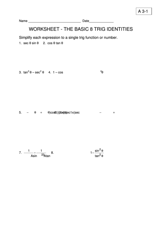 The Basic Trig Identities Worksheet Printable Pdf Download