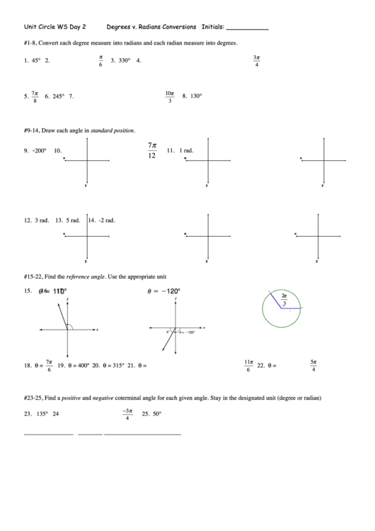 Degrees V Radians Conversions Worksheet Template Printable Pdf Download