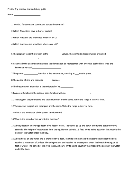 Pre Cal Trig Worksheet Template Printable Pdf Download