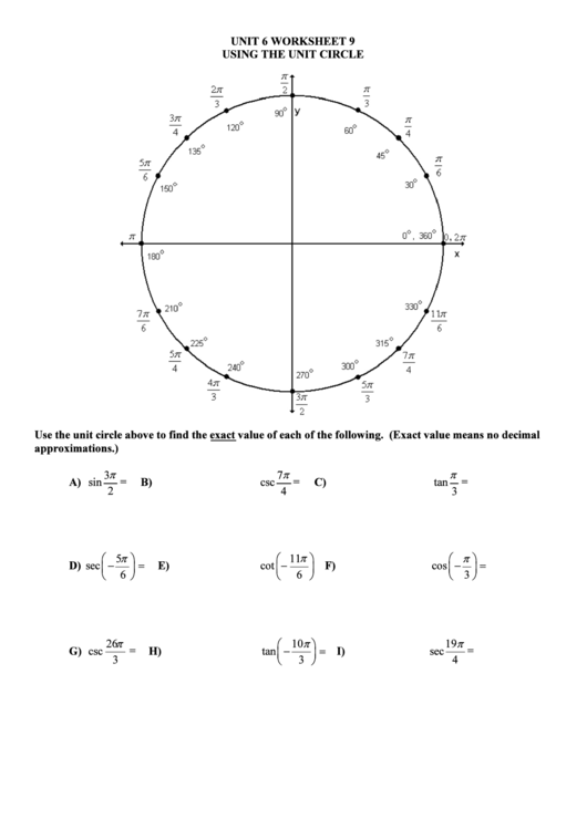 Using the unit circle worksheet template printable pdf download using the unit circle worksheet template pronofoot35fo Images