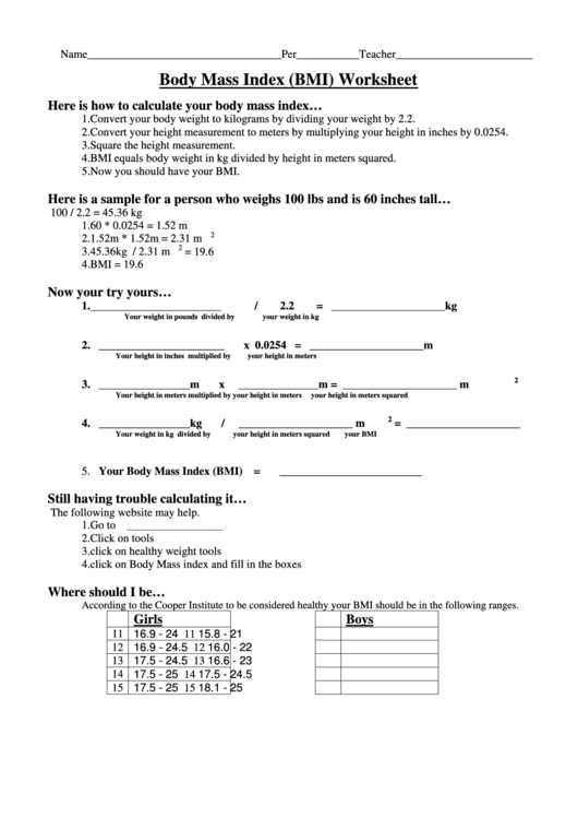 Body Mass Index (Bmi) Worksheet Printable pdf