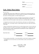 Body Mass Index - Bmi Worksheet Template