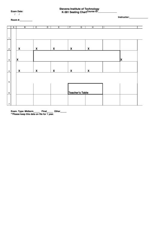 Stevens Institute Of Technology K-381 Seating Chart
