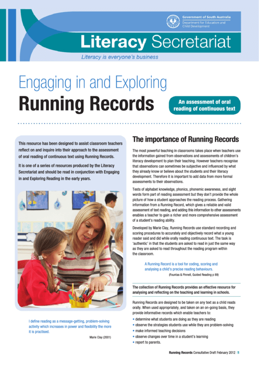 Running Records Reading Instruction