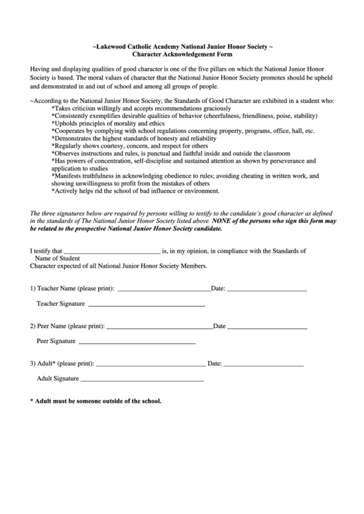 Lakewood Catholic Academy National Junior Honor Society Character Acknowledgement Form Printable pdf