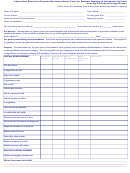 Independent Education Common Recommendation Form For Students Applying To Independent Schools