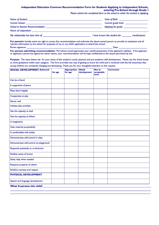 Independent Education Common Recommendation Form For Students Applying To Independent Schools Printable pdf