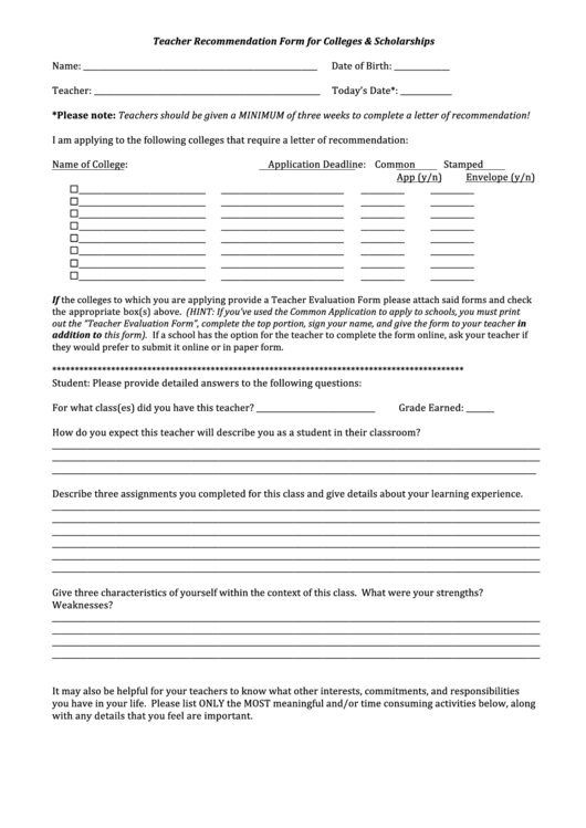 Teacher Recommendation Form For Colleges Scholarships Printable pdf