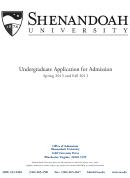 Shenandoah Undergraduate Application For Admission