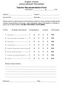 English Institute Scholarship Teacher Recommendation