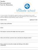 Teacher Recommendation For Elementary