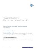 Teacher Letter Of Recommendation