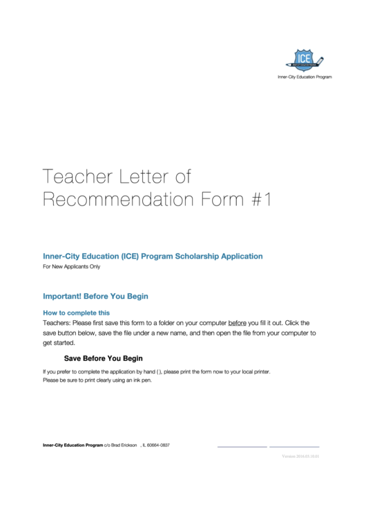 Teacher Letter Of Recommendation