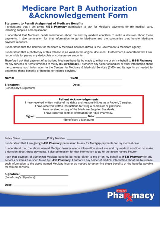 Medicare Part B Authorization & Acknowledgement Form
