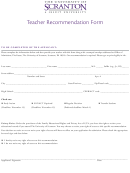 Scranton University Teacher Recommendation Form