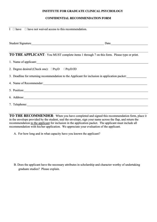 Confidential Recommendation Form