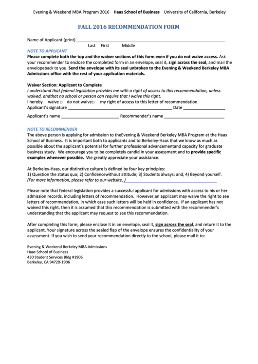 Hass Business School Recommendation Form
