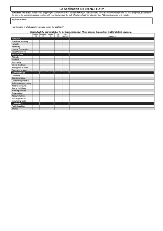 Ica Application Reference Form