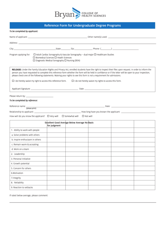 Reference Form For Undergraduate Degree Programs