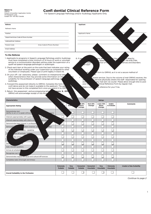Confidential Clinical Reference Form Printable pdf