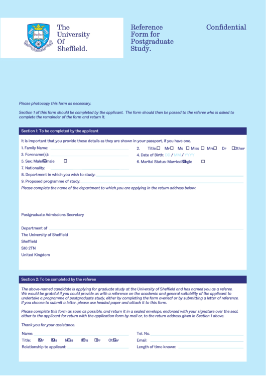 Reference Form Sheffield Postgrad