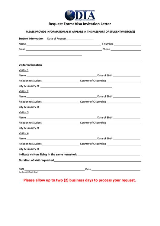 Visa Invitation Letter Printable pdf