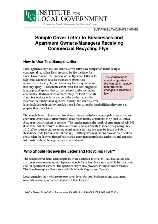 Sample Cover Letter To Businesses And Apartment Owners