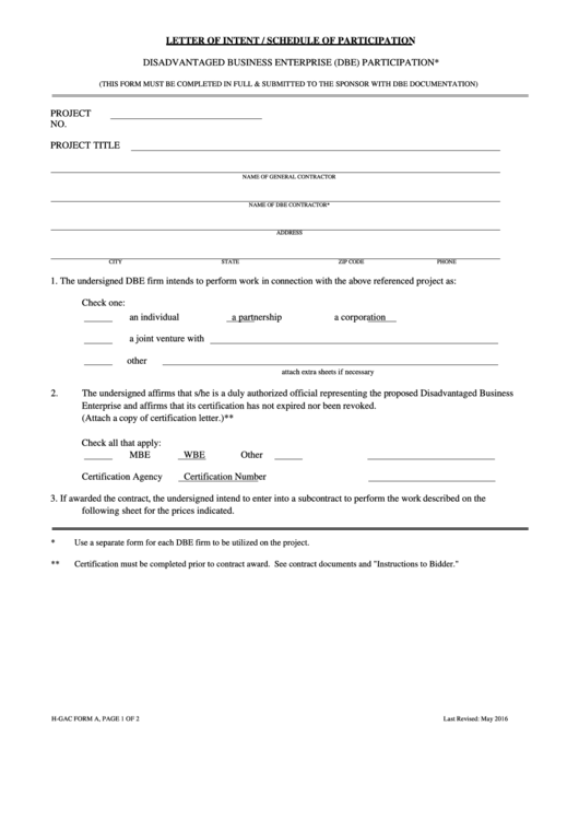 Letter Of Intent - Schedule Of Participation