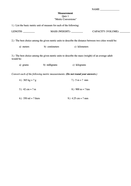 "Measurement Quiz 1 ""Metric Conversions Printable pdf"