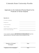 Application To The Institutional Review Board For The Protection Of Human Subjects