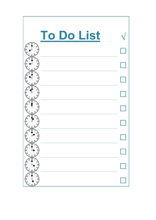 To Do List - By The Hour Printable pdf