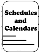 Student Planner Cover Page Schedule