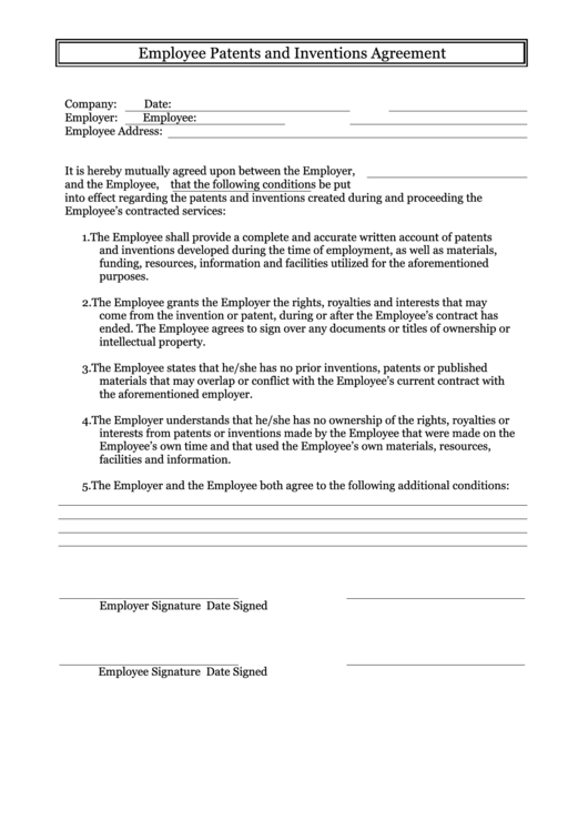 Employee Patents And Inventions Agreement