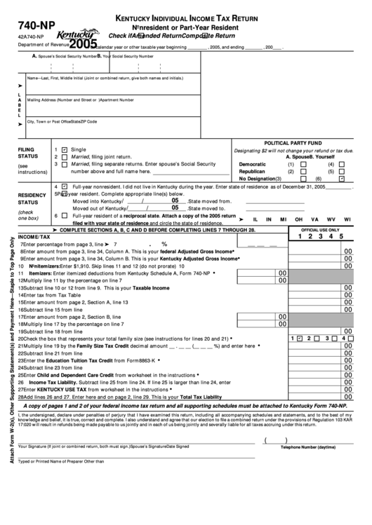 Fillable Form 740-Np - Kentucky Individual Income Tax Return Nonresident Or Part-Year Resident - 2005 Printable pdf