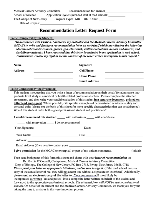Recommendation Letter Request Form Printable pdf