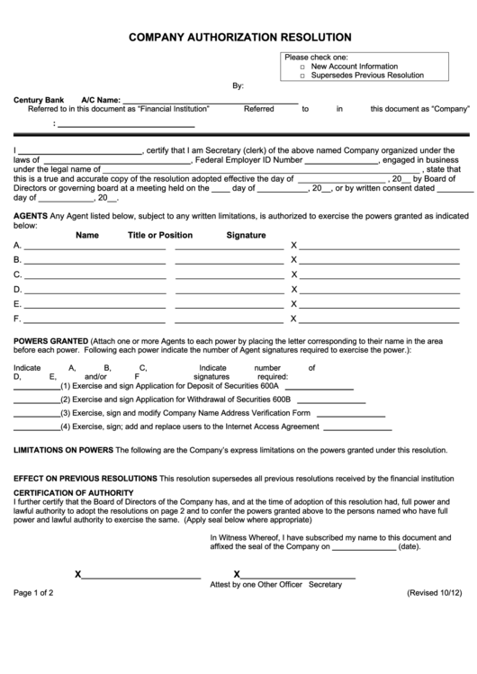 Company Autorization Resolution Form