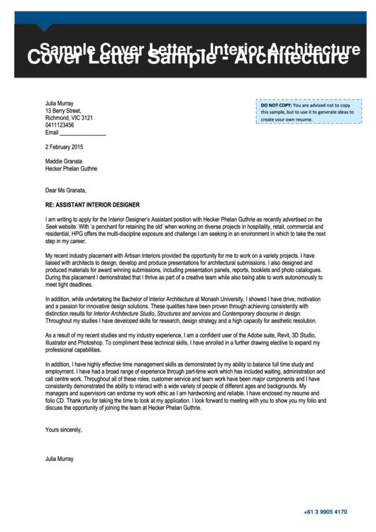 Sample Cover Letter - Interior Architecture Printable pdf