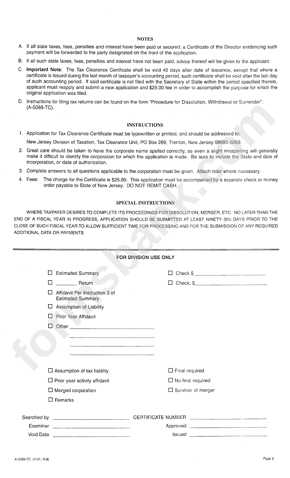 clearance certificate tax form tc instructions pdf advertisement printable