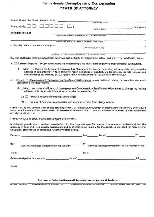 Form Uc-884 - Pennsylvania Unemployment Compensation - Power Of Attorney - Department Of Labor And Industry Printable pdf