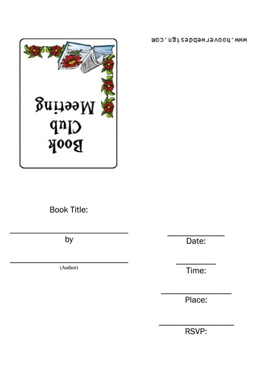 Book Club Meeting Invitation Template Printable pdf