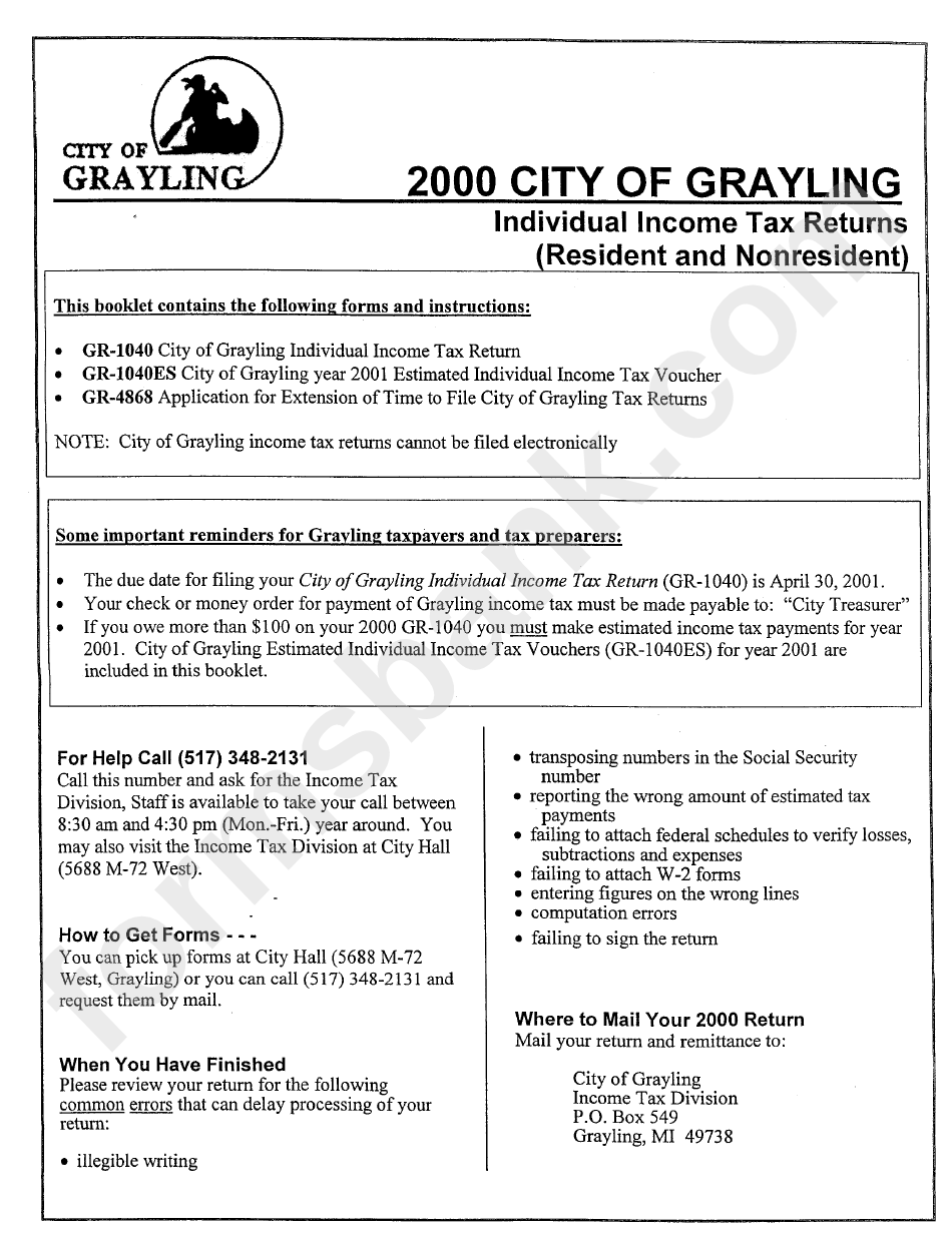 2000 City Of Grayling Individual Income Tax Returns Form