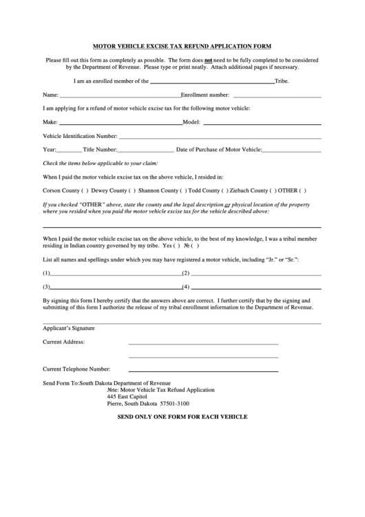 Motor Vehicle Excise Tax Refund Application Form Printable pdf