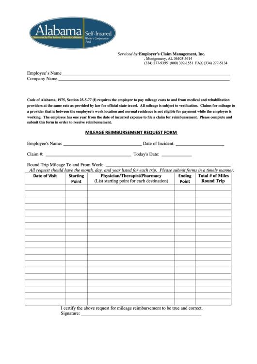 Mileage Reimbursement Request Form
