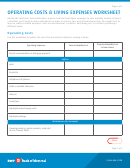 Operating Costs & Living Expenses Worksheet Template