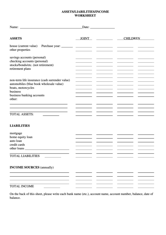 assets  liabilities  income worksheet template printable pdf
