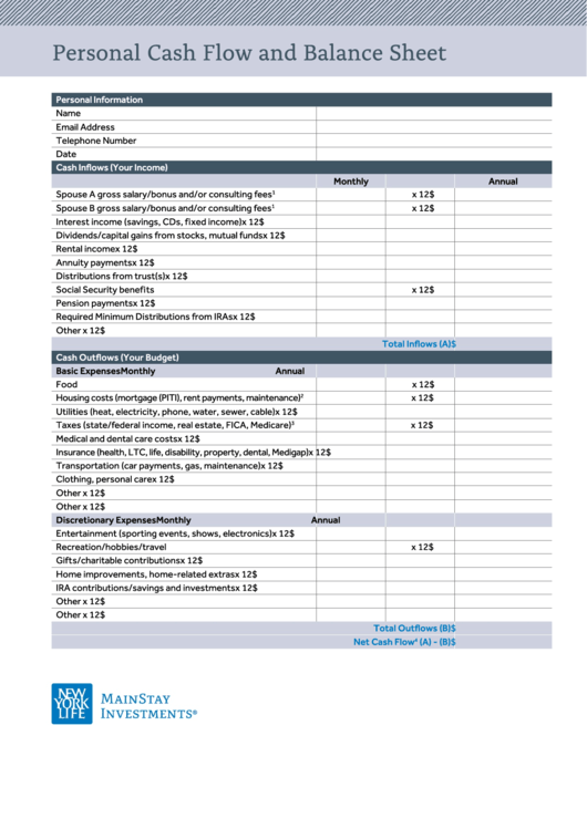 personal cash flow and balance sheet printable pdf download