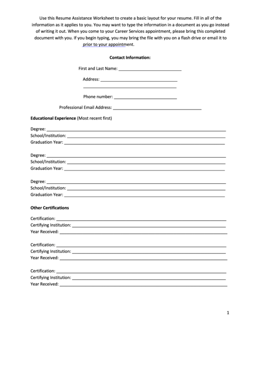 Resume Assistance Worksheet Template Printable pdf