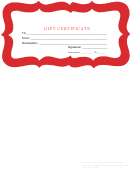 Gift Certificate Template - Red Border