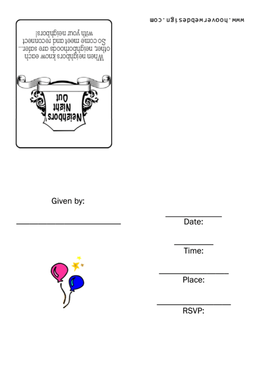 Neighbours Night Out Invitation Template Printable pdf