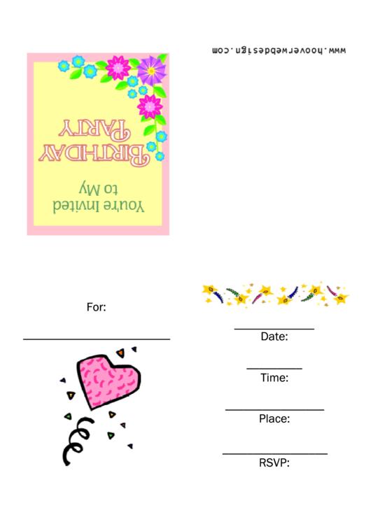 Birthday Party Invitation Template Printable pdf
